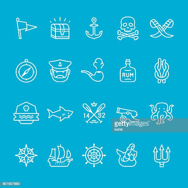 pirate and sailor theme icons - pirate boat stock illustrations, clip art, cartoons, & icons