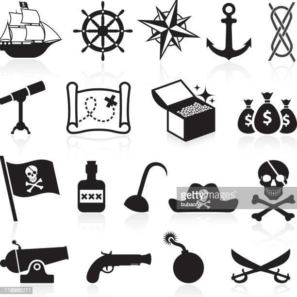 illustrations, cliparts, dessins animés et icônes de pirate noir et blanc ensemble d'icônes vectorielles libres de droits - prothèse