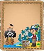 Pirate boy on coast theme parchment 1