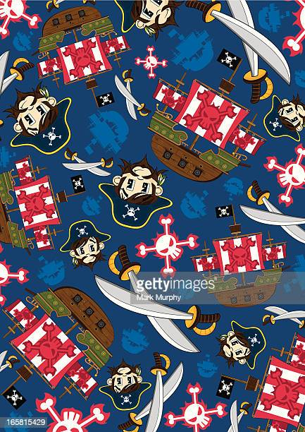 Pirate Captain and Ship Pattern