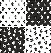 Pirate Captain Avatar Freehand Big & Small Aligned & Random Seamless Pattern Set