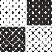 Pirate Captain Avatar Freehand Big & Small Seamless Pattern Set