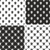 Pirate Captain Avatar Freehand Seamless Pattern Set