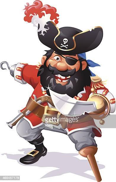 pirate captain blackbeard - beard stock illustrations, clip art, cartoons, & icons