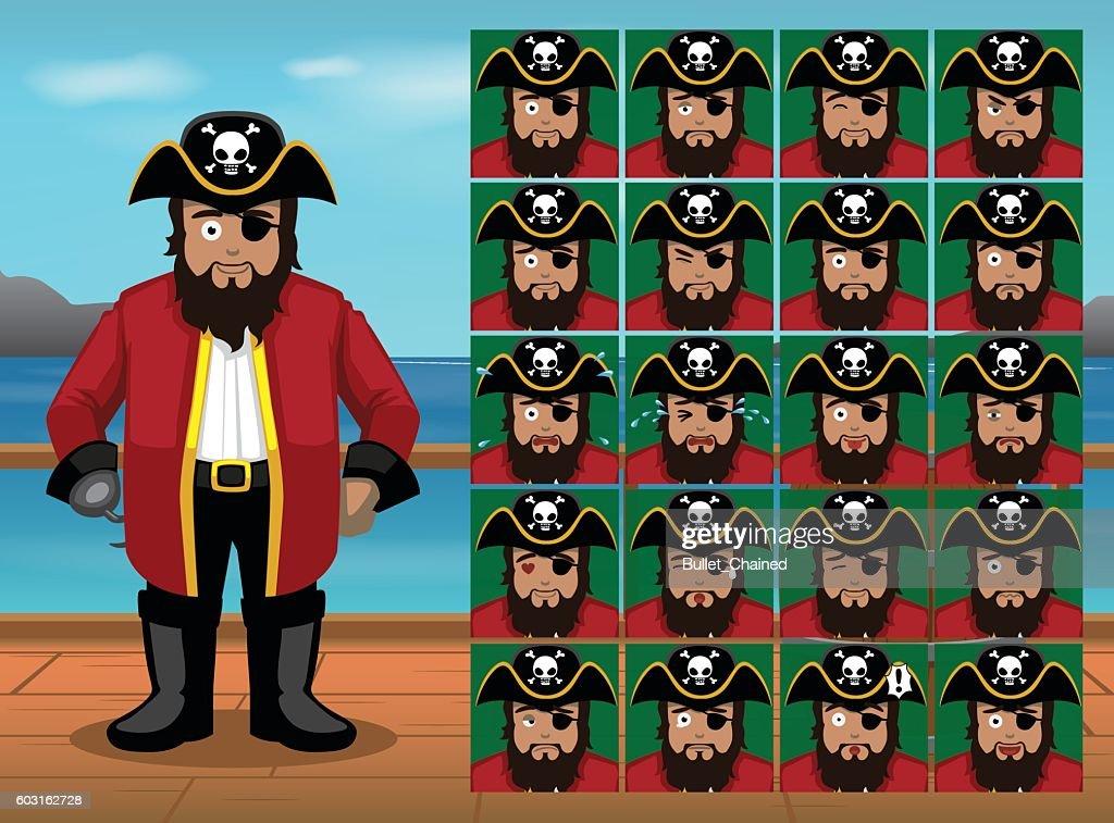 Pirate Captain Cartoon Emoticon Faces Vector Illustration