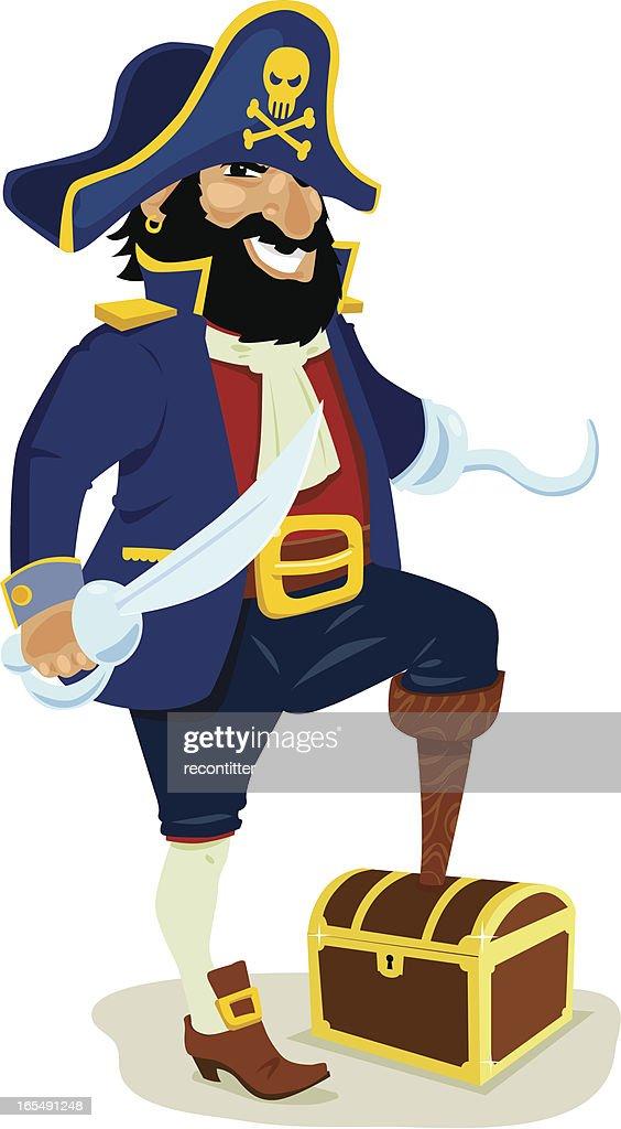 Pirate capitán con su casilla del tesoro : arte vectorial