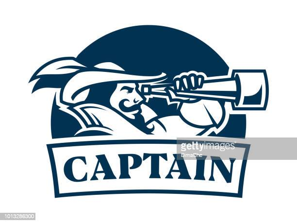 pirate captain with spyglass in camisole and hat with feather - retro style emblem icon with replaceable texy part - team captain stock illustrations