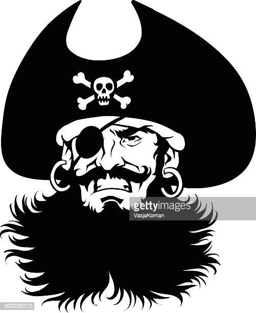 Pirate Captain's  Head in Black and White