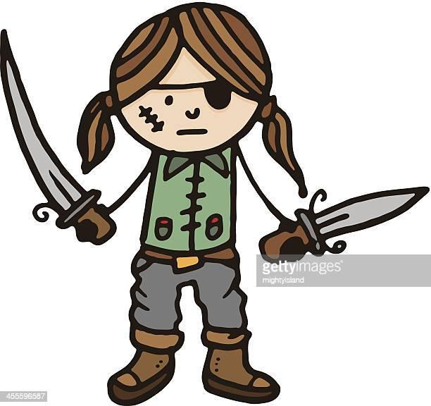 Pirate cartoon boy holding swords