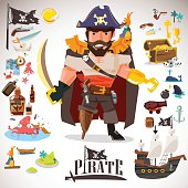 pirate character design with icons element. typographic design