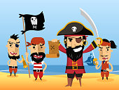 Pirate Characters with flag sword eye patch skull