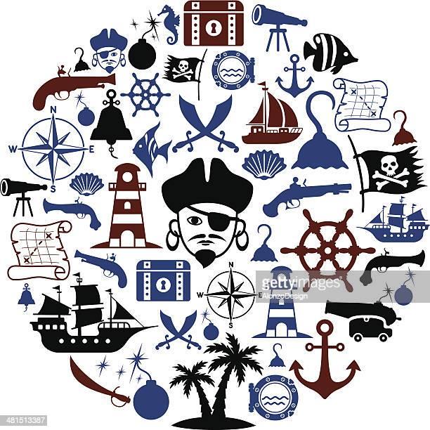 海賊カレッジ - 海賊旗点のイラスト素材/クリップアート素材/マンガ素材/アイコン素材