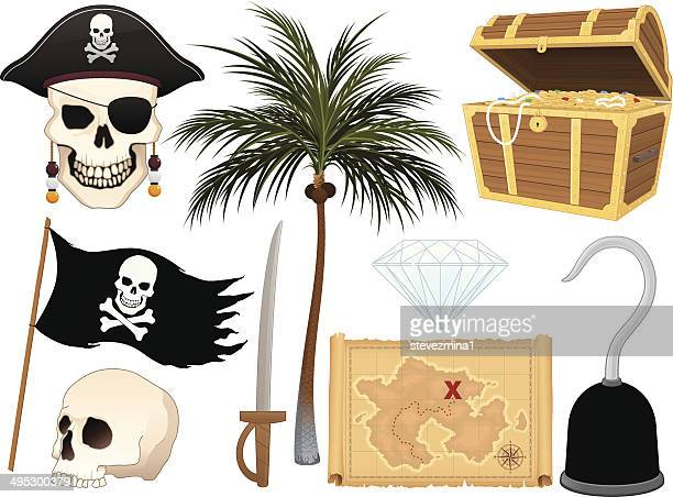 pirate collection - kong: skull island stock illustrations