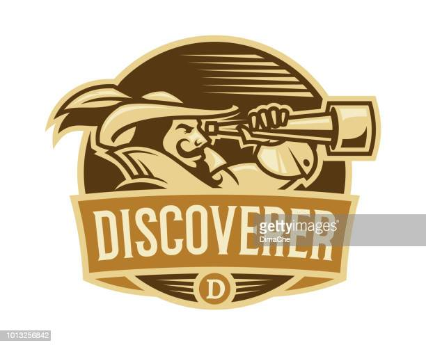 pirate discoverer with spyglass in camisole with high collar and hat with feather - retro style emblem with replaceable text - marines military stock illustrations, clip art, cartoons, & icons