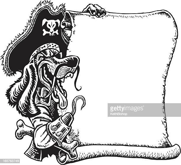 Pirate Dog with Scroll and Hook