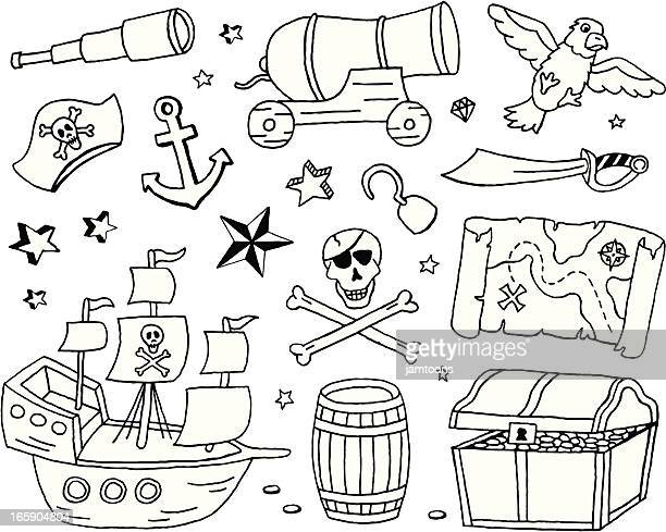 pirate doodles - brigantine stock illustrations, clip art, cartoons, & icons