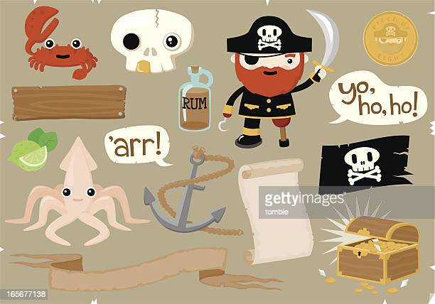 pirate elements - rum stock illustrations, clip art, cartoons, & icons