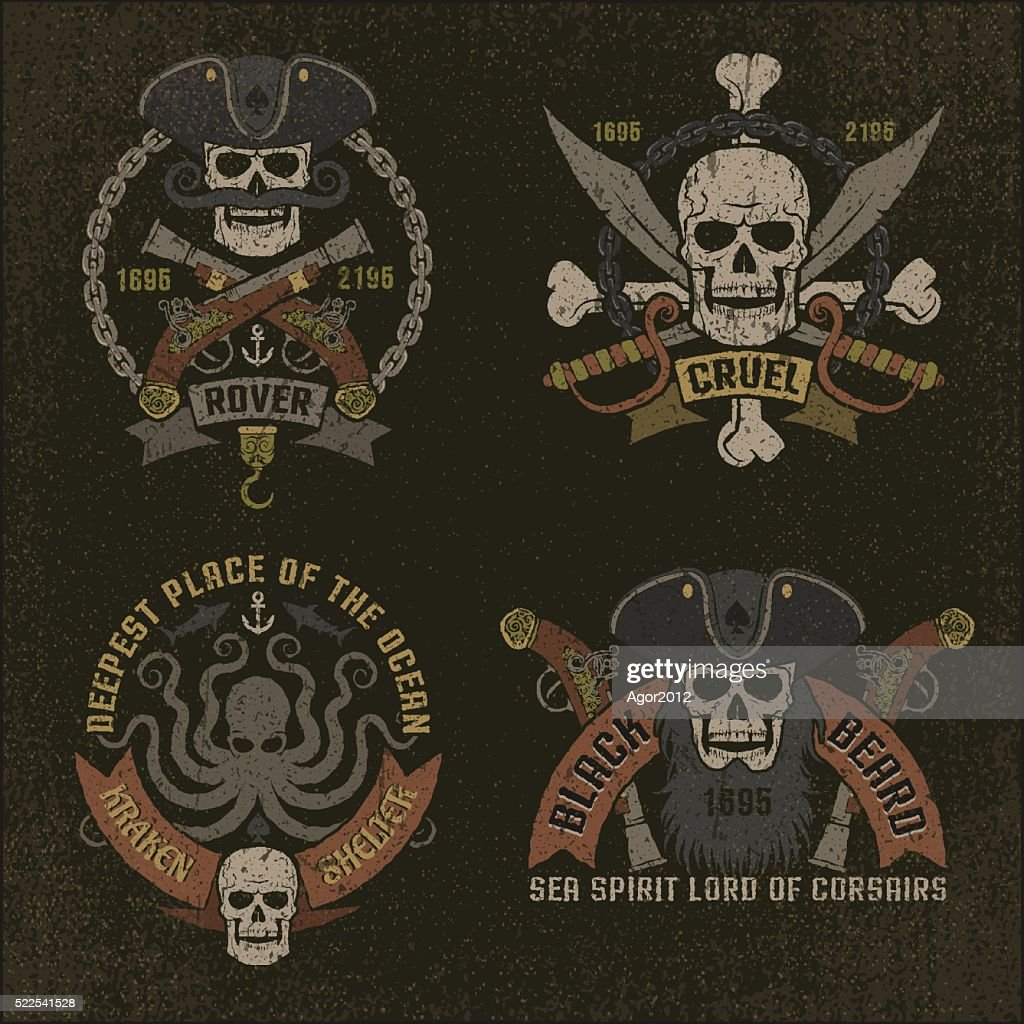 Pirate emblem in grunge style