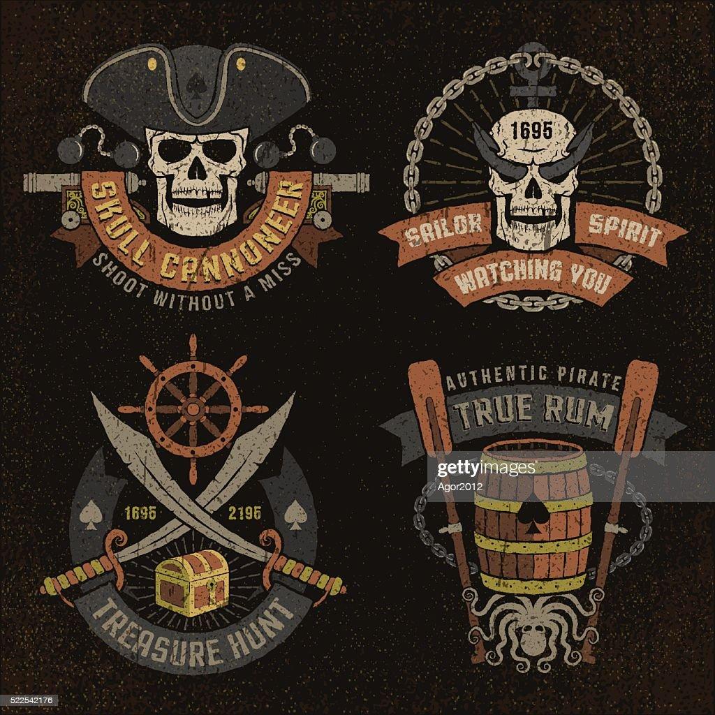 Pirate emblem with skulls