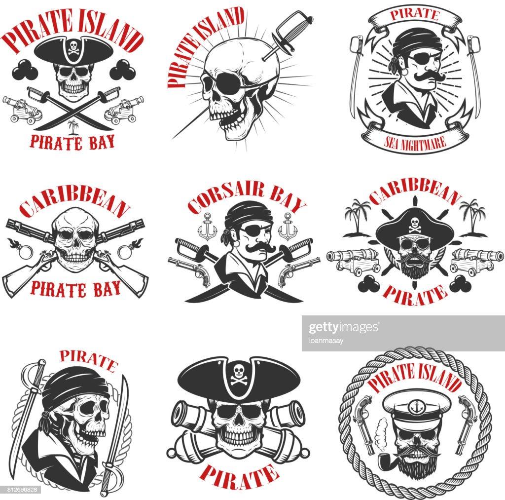 pirate emblems onwhite background. Corsair skulls, weapon, swords,guns. Design elements for label, emblem, sign, poster, t-shirt. Vector illustration