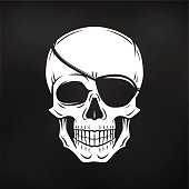 Pirate evil skull vector. Jolly Roger with eyepatch template