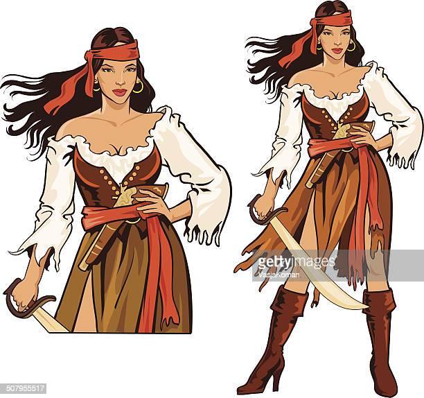 ilustrações de stock, clip art, desenhos animados e ícones de pirata mulher fatal avatar - mulher fatal
