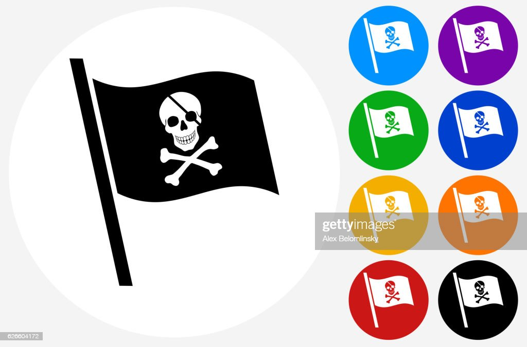 Pirate Flag Icon on Flat Color Circle Buttons