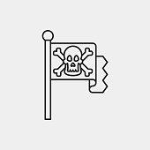 pirate flag line icon