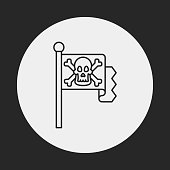 pirate flag line icon