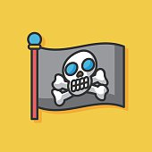 pirate flag vector icon