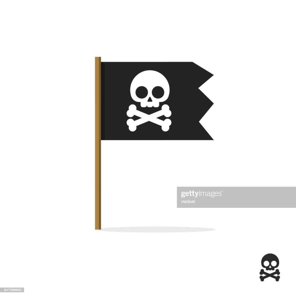 Pirate flag vector symbol icon, skull crossbones, bones shape label