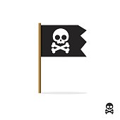 Pirate flag vector symbol icon, skull crossbones, bones shape label