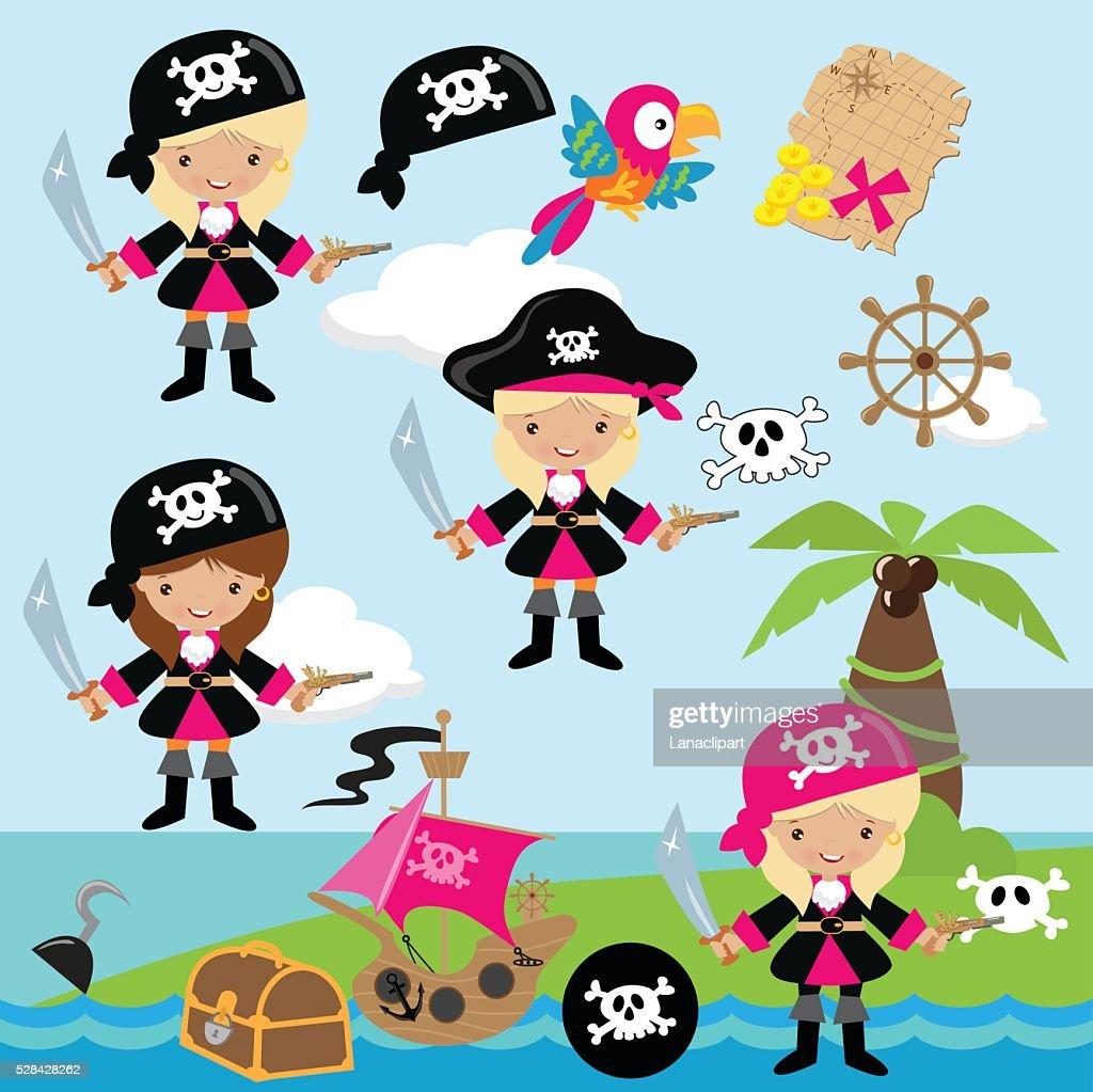 Pirate girl vector illustration