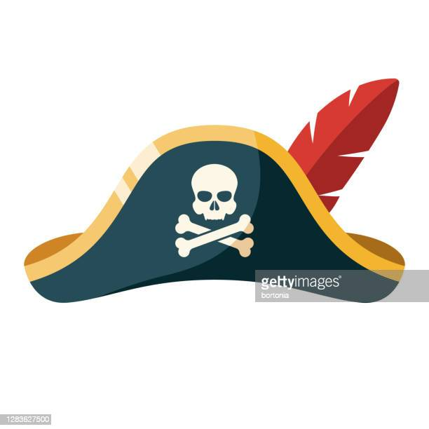pirate hat icon on transparent background - hat stock illustrations