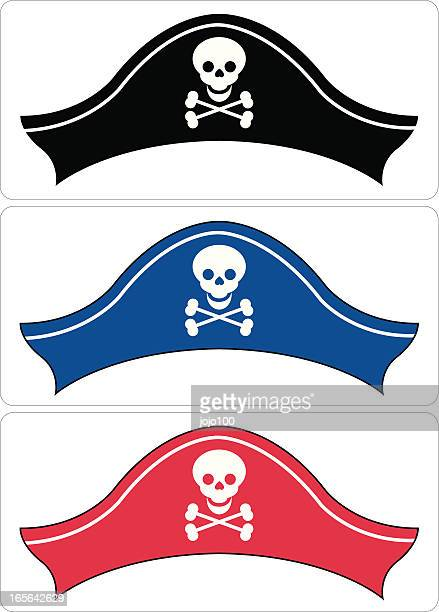 pirate hat in three colours - hat stock illustrations