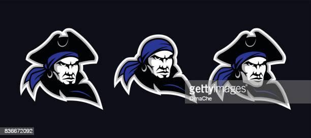 pirate head mascot - pirate criminal stock illustrations