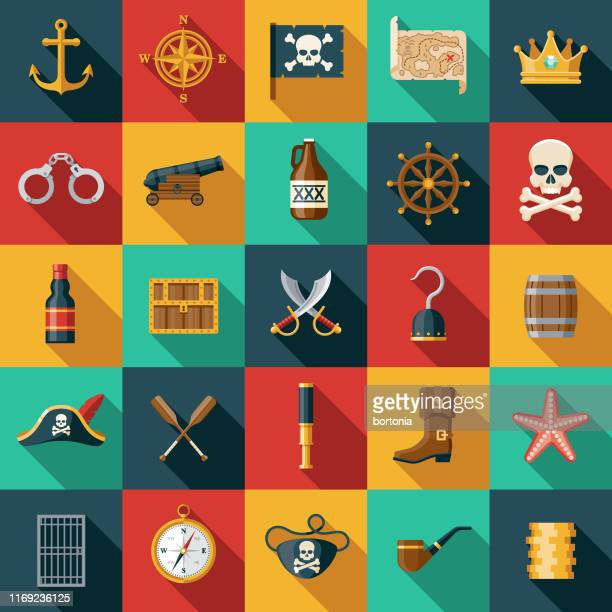 pirate icon set - kong: skull island stock illustrations