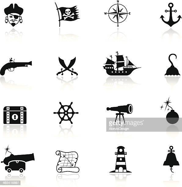 illustrations, cliparts, dessins animés et icônes de ensemble d'icônes de pirate - prothèse