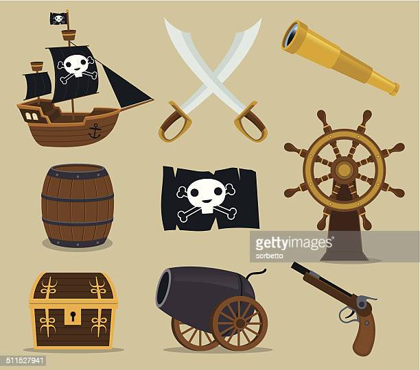 pirate icon set - brigantine stock illustrations, clip art, cartoons, & icons