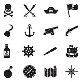 Pirate Icons. Black Flat Design. Vector Illustration.