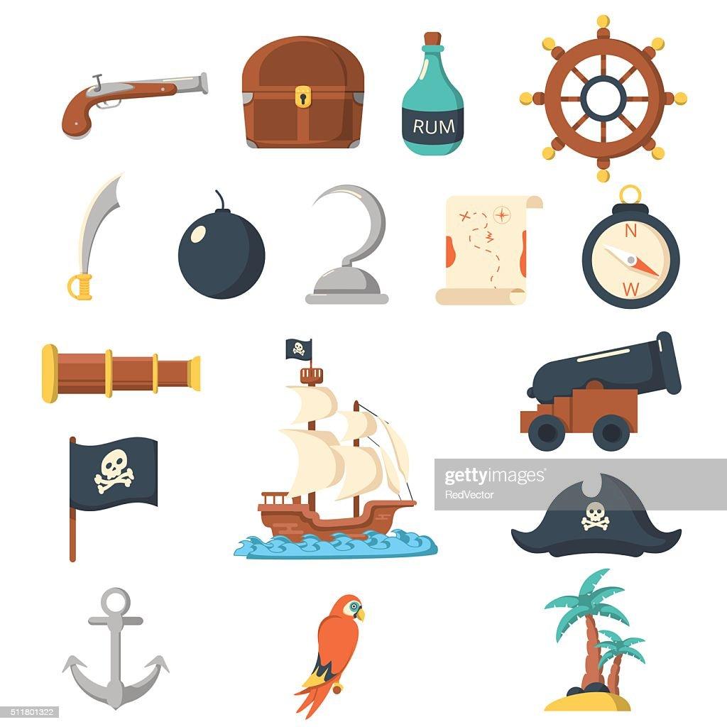 Pirate icons flat set
