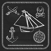 Pirate icons - sloop, cutlassand Jolly Roger