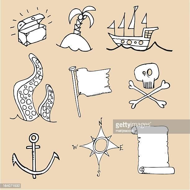 pirate icons - kong: skull island stock illustrations