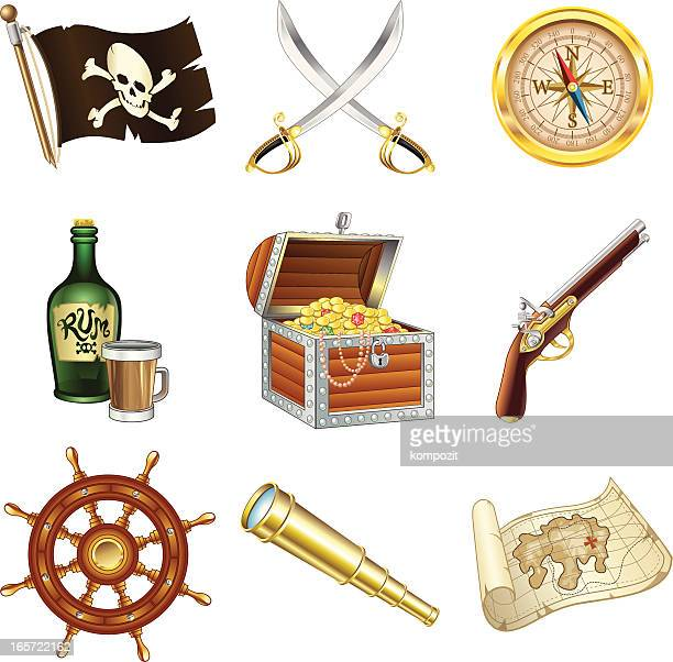pirate icons - rum stock illustrations, clip art, cartoons, & icons