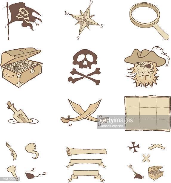 ilustrações de stock, clip art, desenhos animados e ícones de ícones de pirata - arcaico