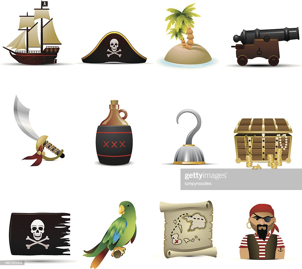 Pirate Icons : stock illustration