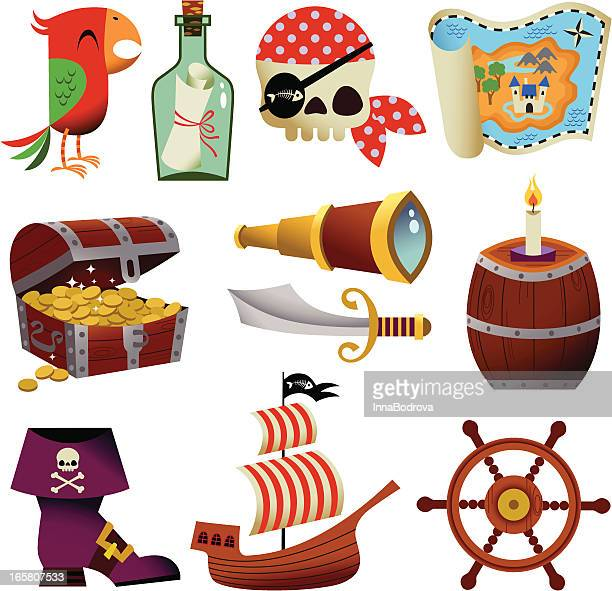 pirate icons. - pirate boat stock illustrations, clip art, cartoons, & icons