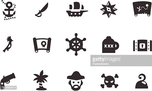 pirate icons - brigantine stock illustrations, clip art, cartoons, & icons
