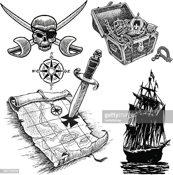 Pirate Items with Tresure Map, Ship and Skull