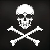 Pirate Jolly Roger with crossbones. Black flag t-shirt concept